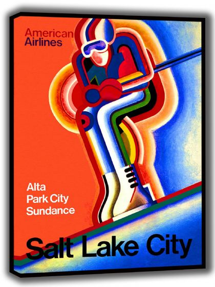 Salt Lake City Vintage Skiing Travel Canvas. Sizes: A4/A3/A2/A1 (002703)